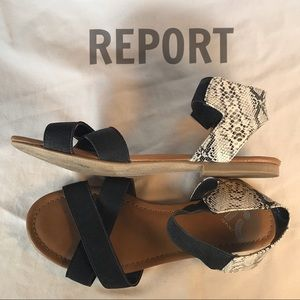 REPORT Faux Blk./Wh. Snake flat Sandals🖤
